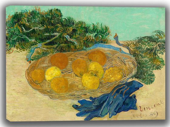 Van Gogh, Vincent: Still Life of Oranges and Lemons with Blue Gloves. Fine Art Canvas. Sizes: A4/A3/A2/A1 (004053)